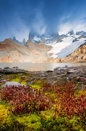 fitz roy: Cloudy day at Laguna de Los Tres. The famous Fitz Roy is behind the clouds  Stock Photo