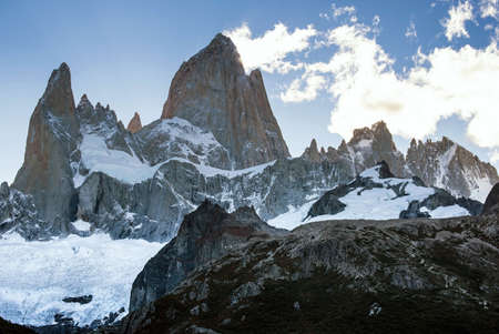 el chalten: The peak of Cerro Fitz Roy shows off in late afternoon of a beautiful day with clear sky.  Stock Photo