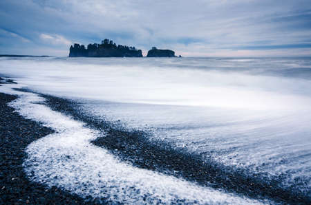 Rialto beach after sunset time, Olympic National Park, WA Stock Photo