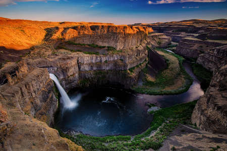 palouse: Beautiful Palouse Falls in the evening before sunset time.  Stock Photo