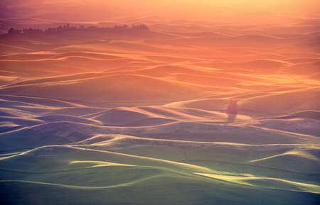 touched: Spectacular golden sunrise at Palouse hills. From Steptoe Butte state park, Washington Stock Photo