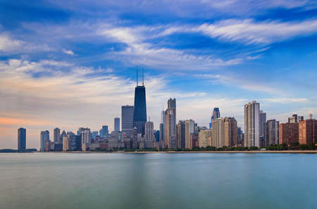 Chicagos skyline. Taken from Lincoln Park in the morning photo