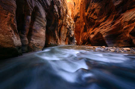 Reflected light lit up the walls of the Narrows Wall Street in Zion National Park. Imagens