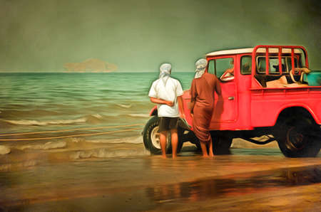 leaning on the truck: Three men, two standing and one in a pickup conversing on the beach next to a pickup parked on the beach in the water