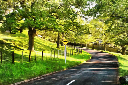 digital painting: Digital painting of Road in a public park in lush surroundings with a road sign Stock Photo