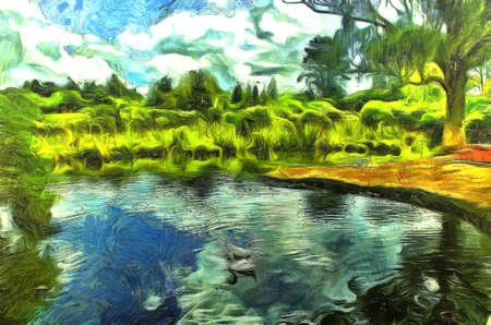 lush foliage: Digital Painting of an Idyllic scene of ducks in a pond surrounded by lush foliage