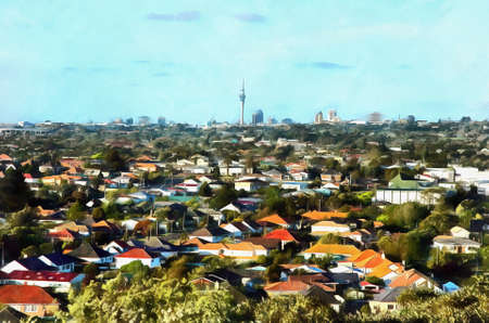 suburb: Digital painting of a View of a suburb with colourful houses against a background downtown city with skyscrapers Stock Photo
