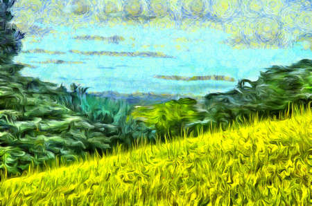 Painting grass filled hillside against a background of trees and a blue sky with clouds in the style of Vincent Van Gogh Stock Photo