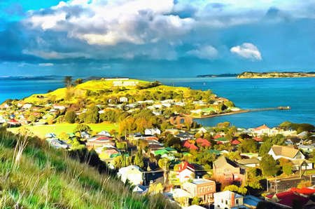 unspoilt: View over Davenport from Mount Victoria in New Zealand Stock Photo