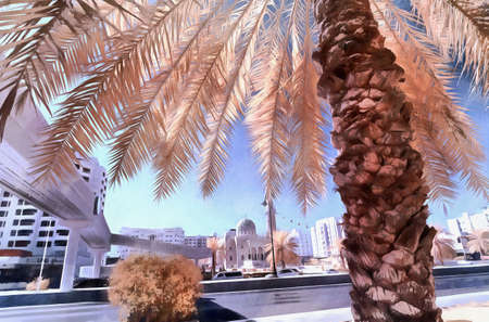 ir: Date palm with mosque in background in false infrared colors