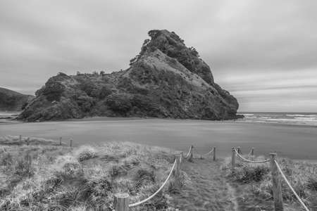 lions rock: Black and White image of Lions rock on Piha Beach New Zealand Stock Photo