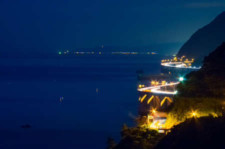 trafic: Oyasrazu coast at night, Japan
