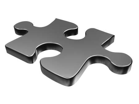3D puzzle piece isolated on white