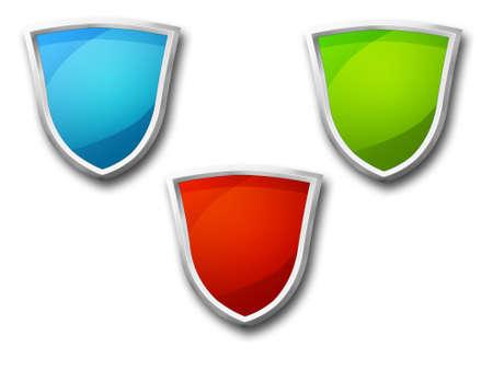 3D shield icon set
