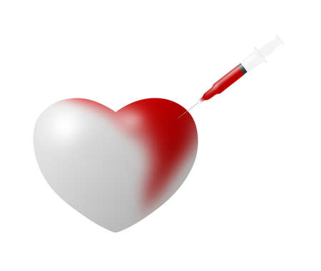 injected: Heart injected with red dye