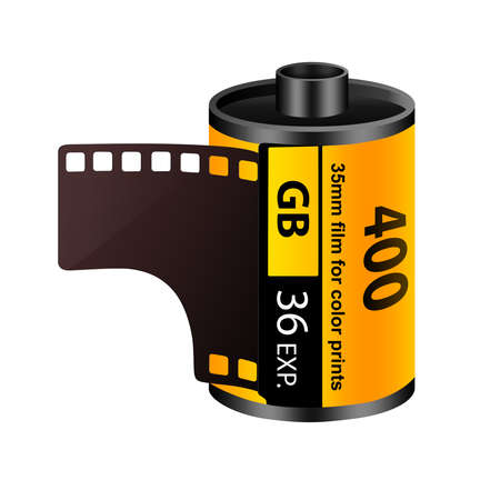 art processing: 35mm film roll Stock Photo