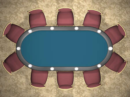 3D rendering of a poker table with chairs. (Top view) Stock Photo