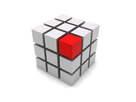 3D boxes forming a big cube Stok Fotoğraf