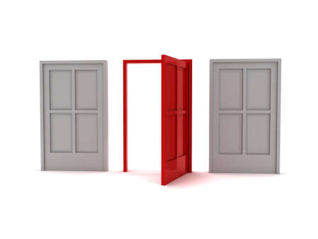 3 doors symbolizing the options or choices made in life Stock Photo