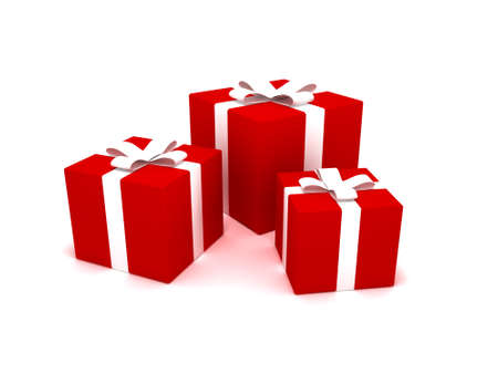 3D rendering of Christmas presents