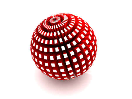 extruded: Red sphere with extruded polygons