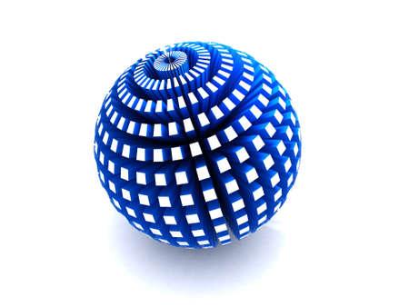 押し出しポリゴンで青い球