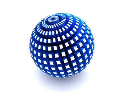 Blue sphere with extruded polygons Stock Photo