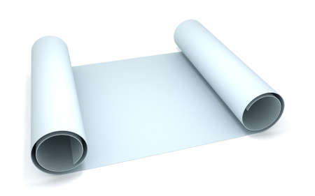 architect plans: 3D blank blueprint roll of paper Stock Photo
