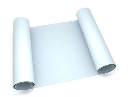 3 D 空白青写真紙をロールします。 写真素材