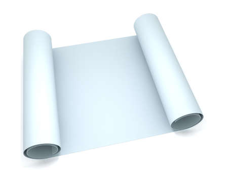 architect tools: 3D blank blueprint roll of paper Stock Photo
