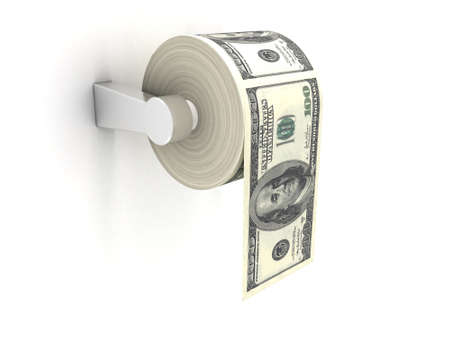 public toilet: Roll of toilet paper with 100 dollar bills