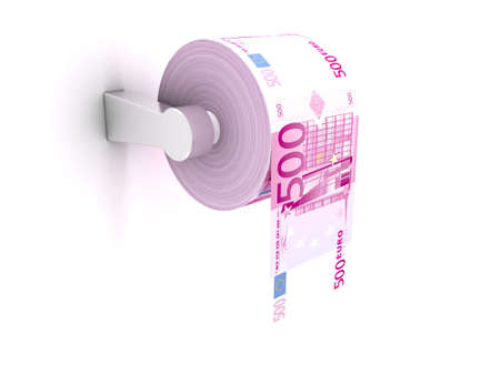 Roll of toilet paper with 500 euros bills photo