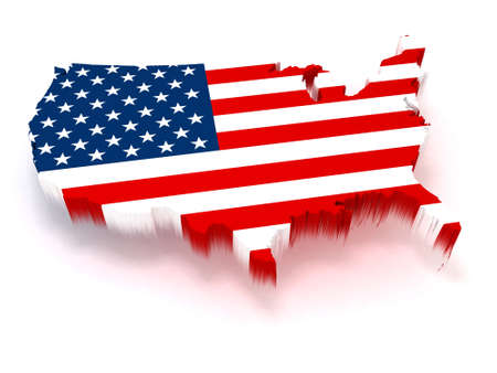 map of usa: 3D USA map covered with a us flag texture Stock Photo