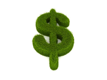 3D dollar sign covered in a grass texture photo