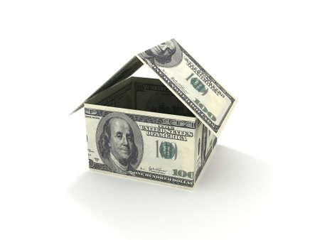 住宅ローンの 100 ドル札からなされる家のコンセプト 写真素材