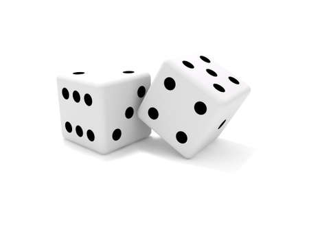 craps: Pair of dice isolated on white