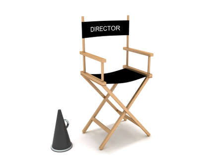 filmregisseur: Directeur stoel Stockfoto
