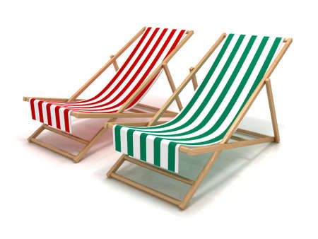reclining chair: Beach chairs Stock Photo