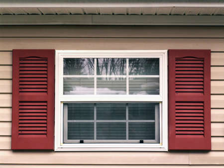 cladding tile: Window and shutters Stock Photo