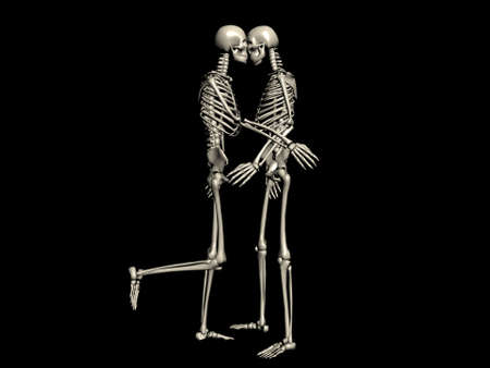 A couple of skeletons kissing photo