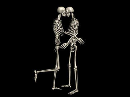osteoporosis: Un par de esqueletos de besos Foto de archivo