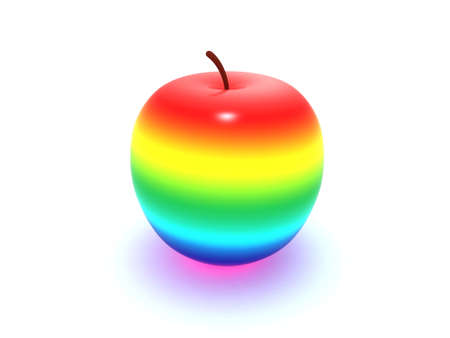 Rainbow apple Stock Photo