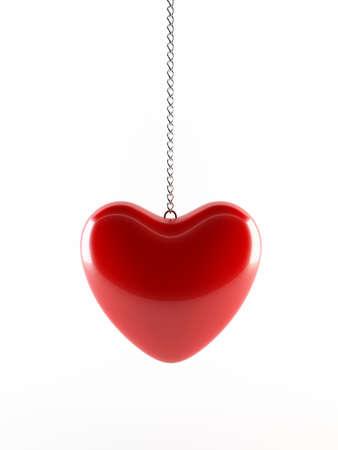 Red heart pendant Stockfoto