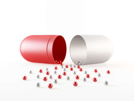 Prescription pill filled with small particles photo
