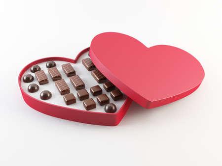 赤いハート型チョコレート ボックス 写真素材