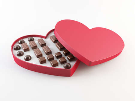 Red heart shaped chocolate box photo