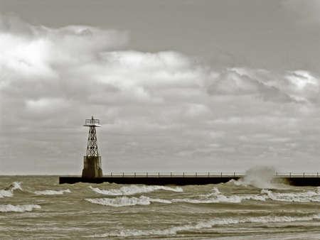 clody: Pier on a clody day  Sepia tone Stock Photo