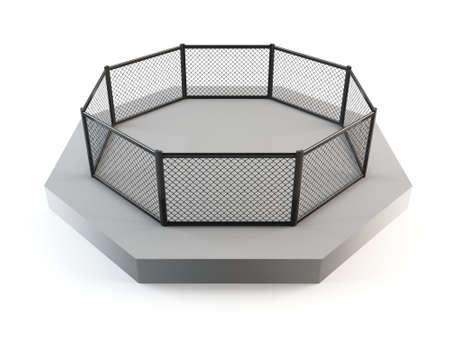 bout: MMA oct�gono, el anillo de jaula de lucha Foto de archivo