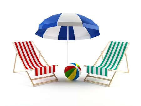 patio deck: Beach chairs and ball under an umbrella