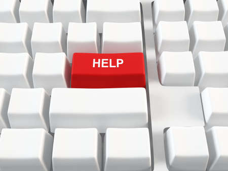 Computer keyboard with a red help button Stock Photo - 13432114